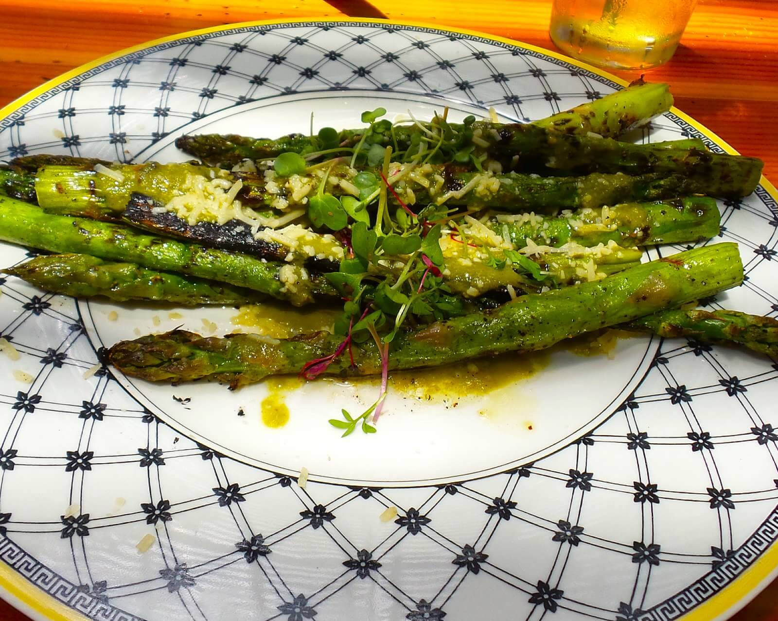 Grilled Asparagus, green sauce, lemon, parmesan