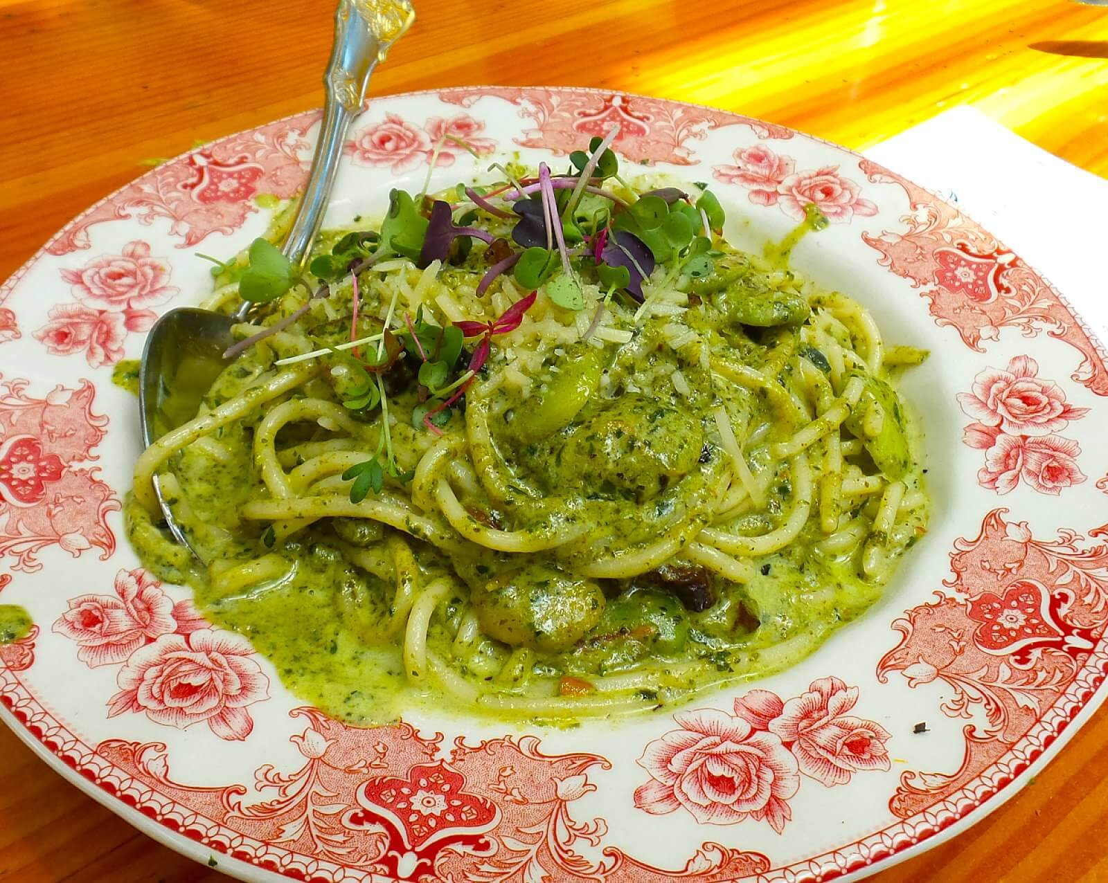 Spaghetti with pesto, mushroom, fava, mint, parmesan