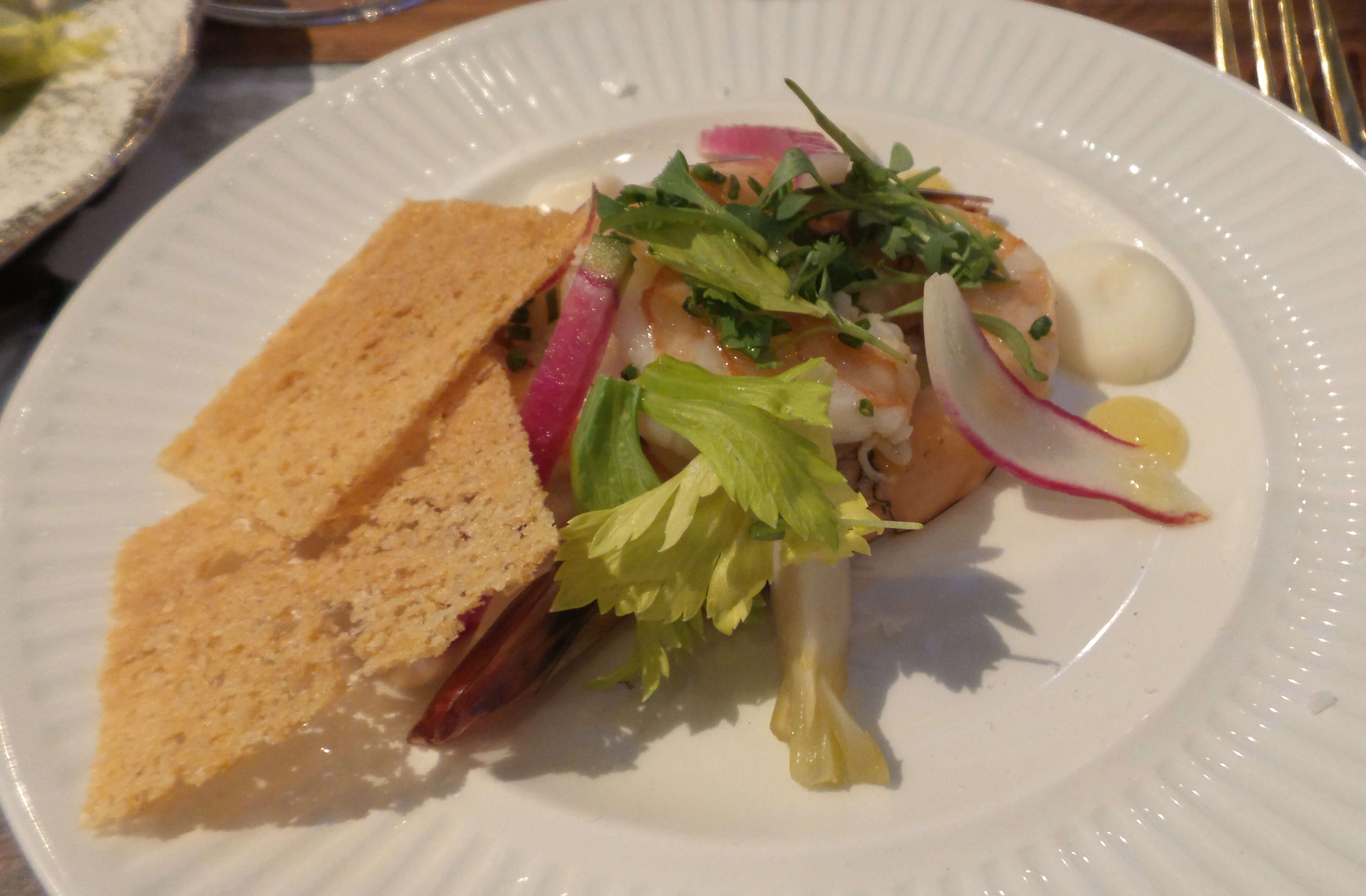 Shrimp Salad--Lemon Gel,Turnip, Citrus Salt, Brioche