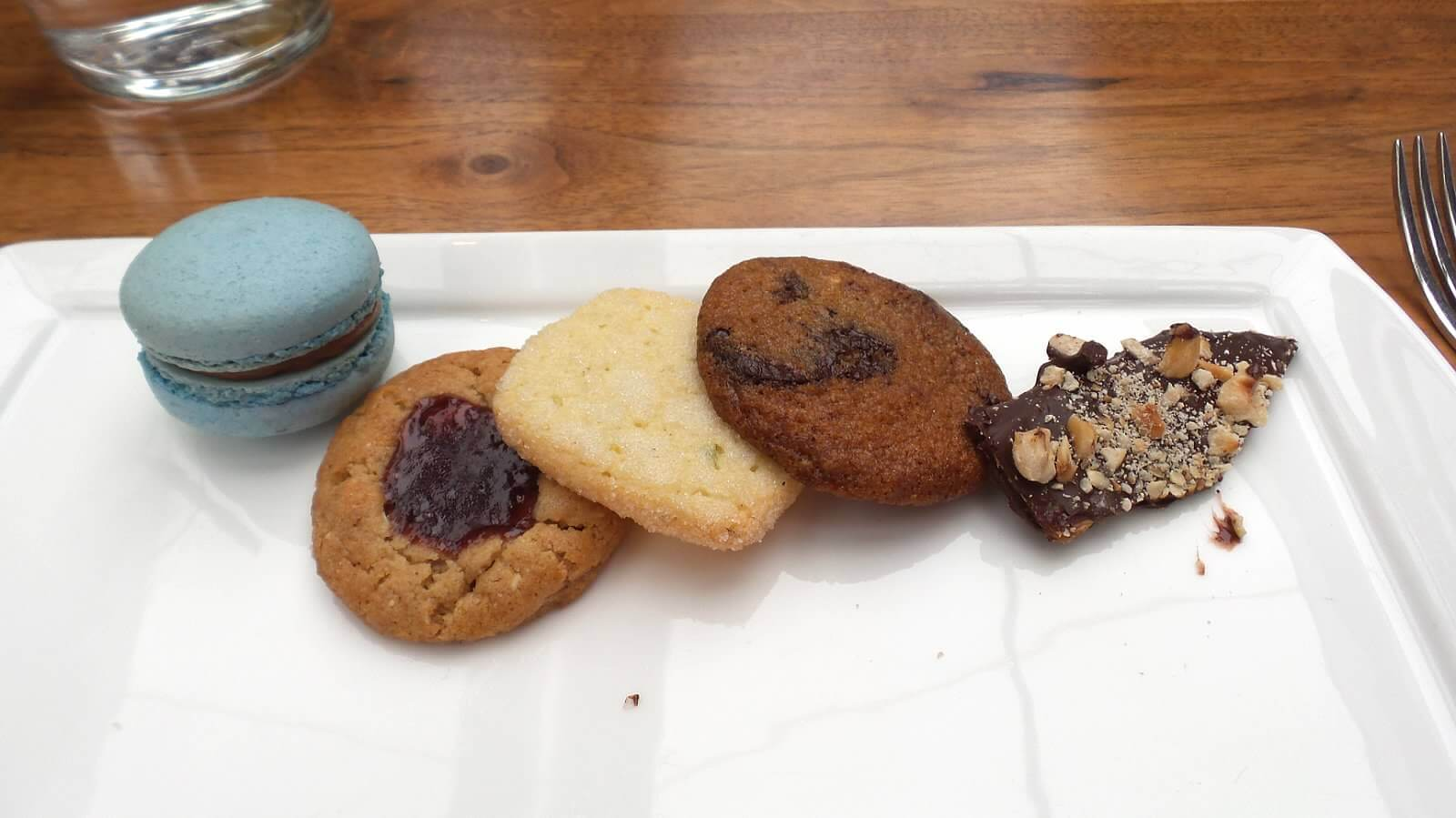 Dessert--Cookie Plate. macaron, chocolate chip, thumbprint, toffee, shortbread