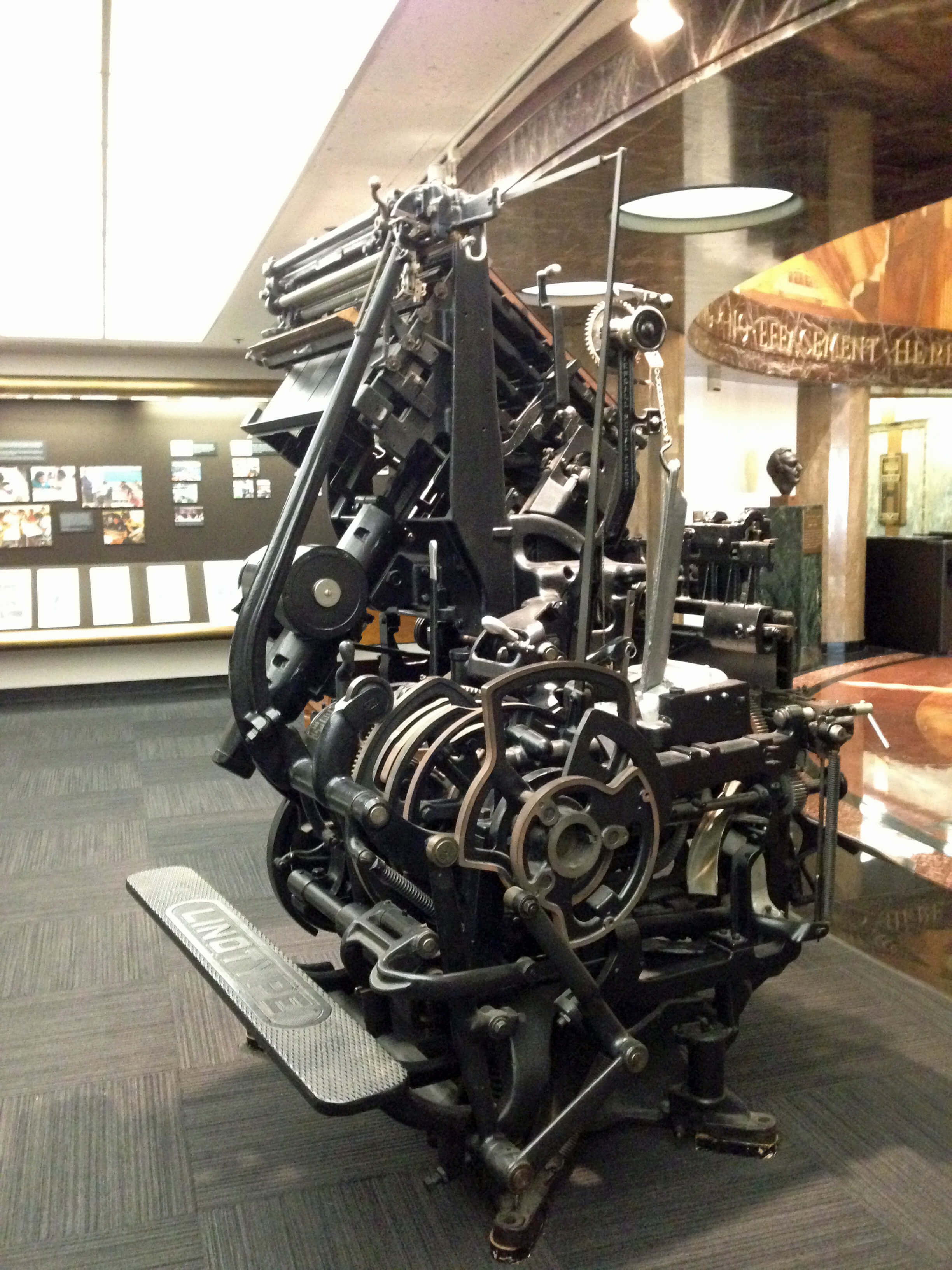 Back of the linotype machine