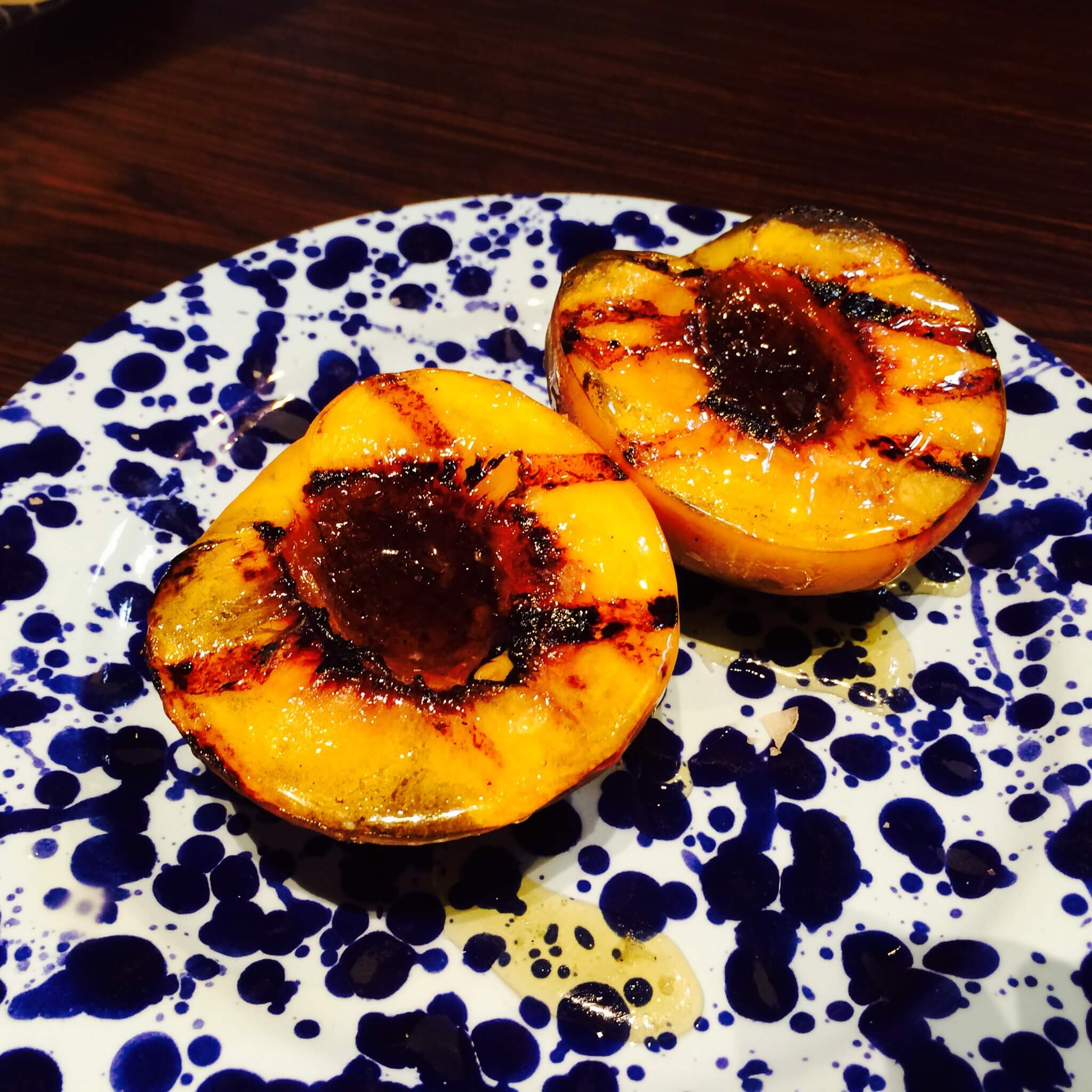 GRILLED FITZGERALD'S PEACH - With honey & smoked Maldon sea salt