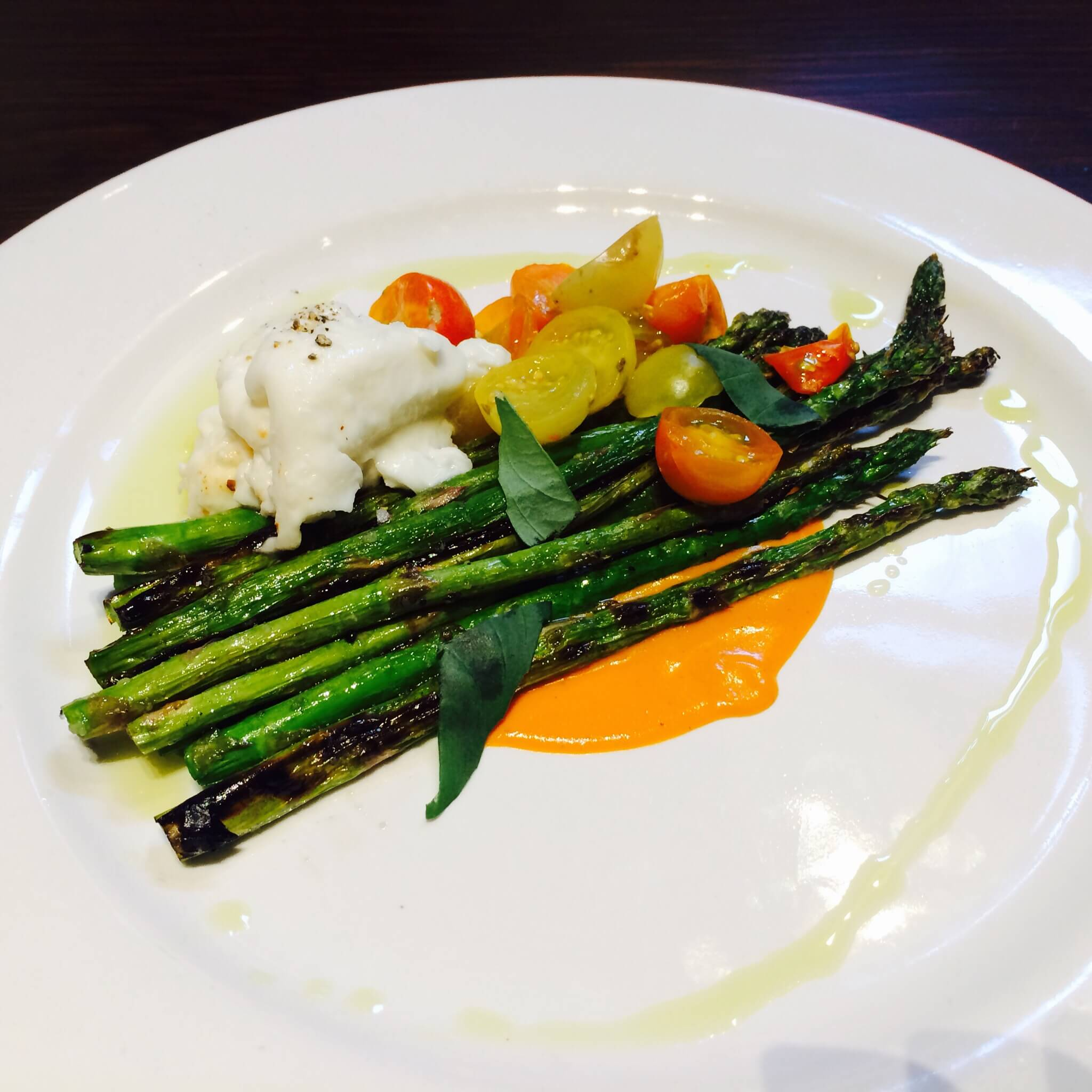 GRILLED ASPARAGUS-Burrata, tomato vinaigrette, opal basil & olive oil