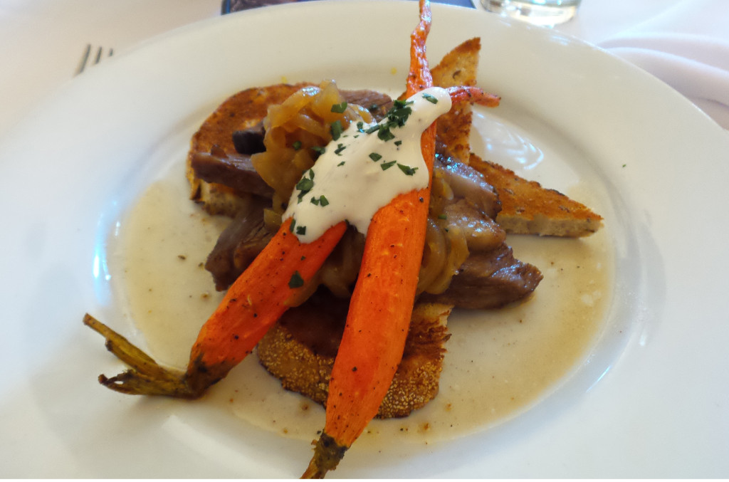 Open Face Pot Roast Sandwich, carrots, caramelized onions, creamy horseradish