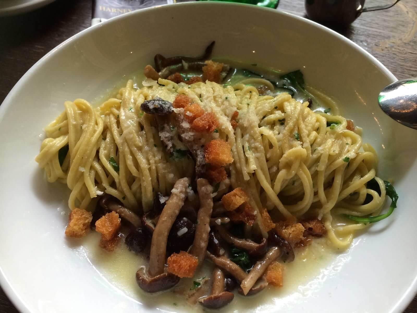 Handmade Egg Spaghetti--Roasted Mushrooms, Baby Kale, Parmigiano Broth