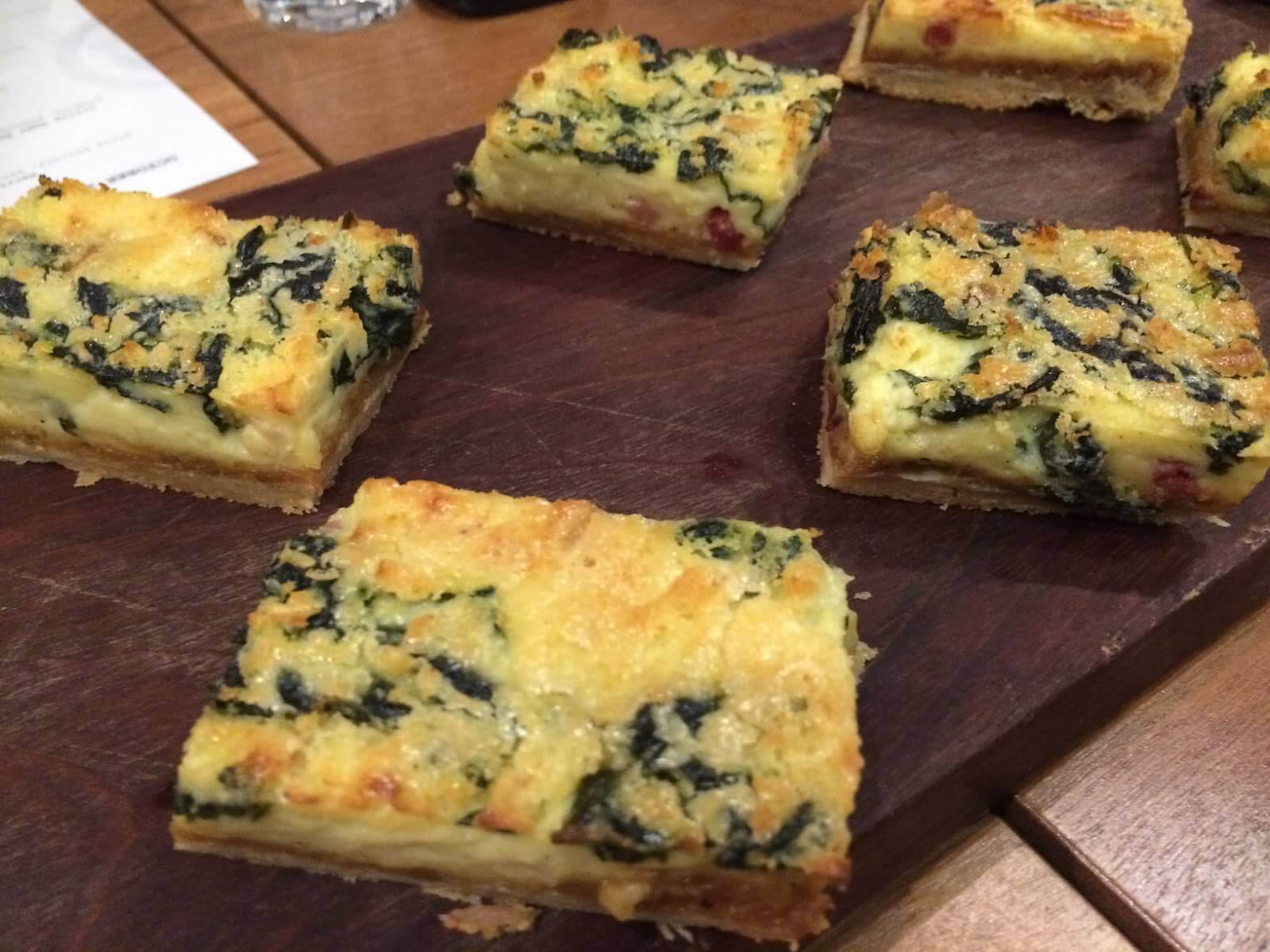 Quiche of the Day--kale, caramelized onion, bacon, gruyere