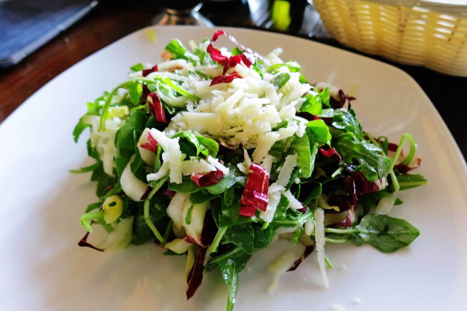 Tre Colori Salad--Treviso radicchio, Belgian endive, baby wild arugula, aged Grana Padano