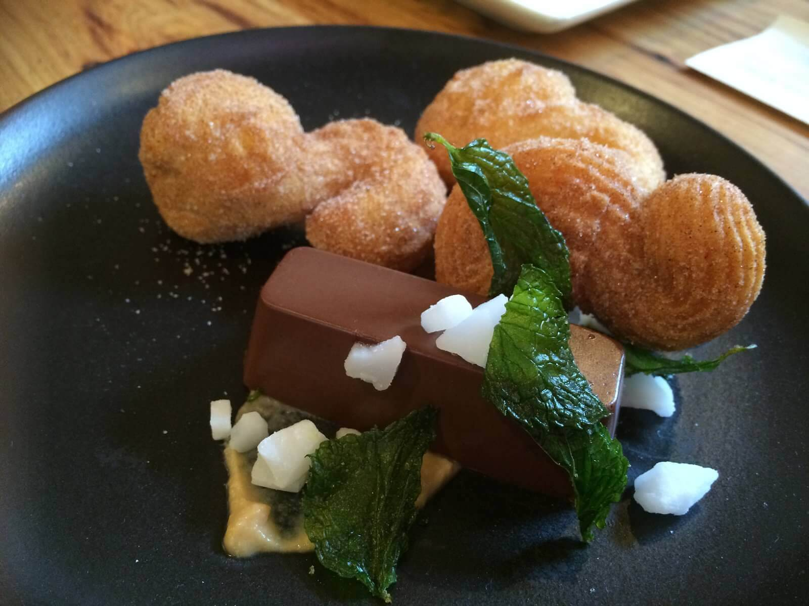 Churros, chocolate custard, toffee sauce, mint
