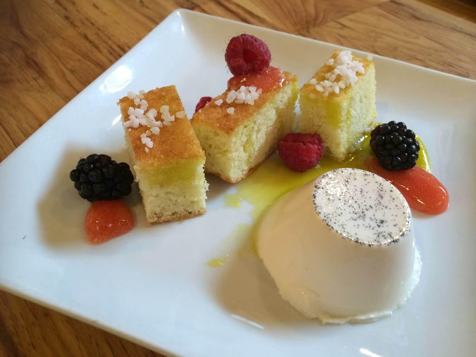 Olive oil cake, vanilla panna cotta, rhubarb gel