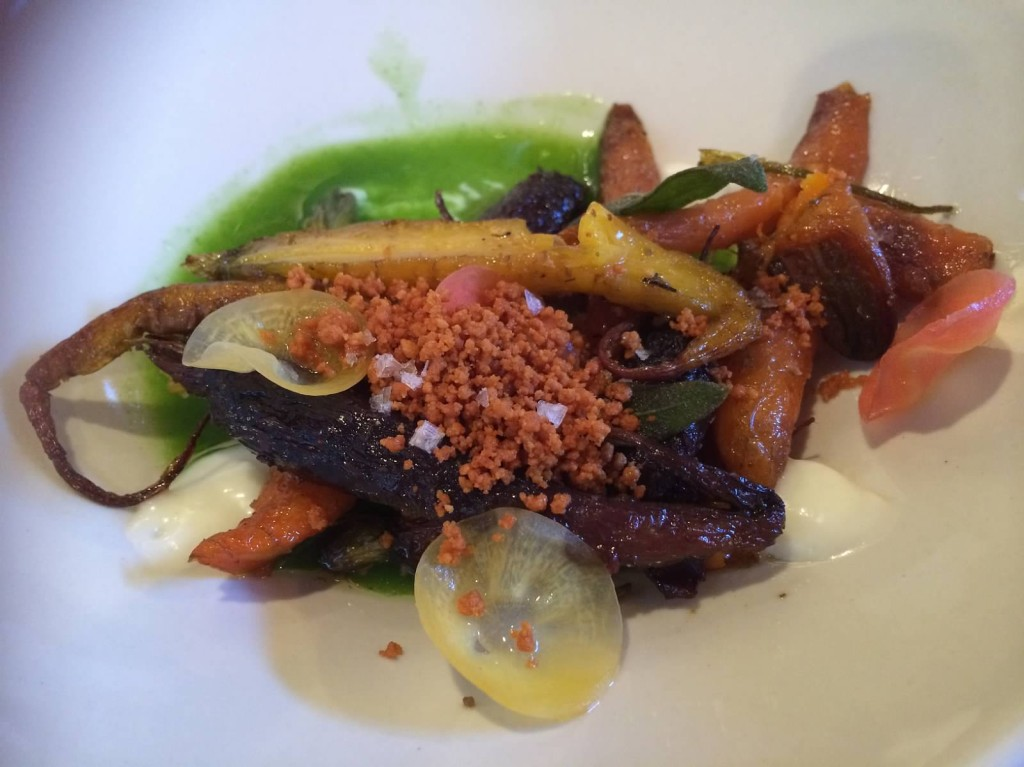 Roasted heirloom carrots, coconut gel, brown butter crumbs