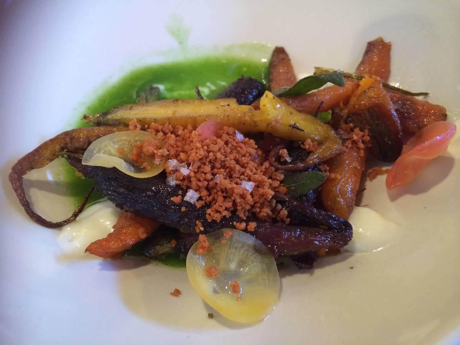 Roasted heirloom carrots, coconut gel, brown butter crumbs