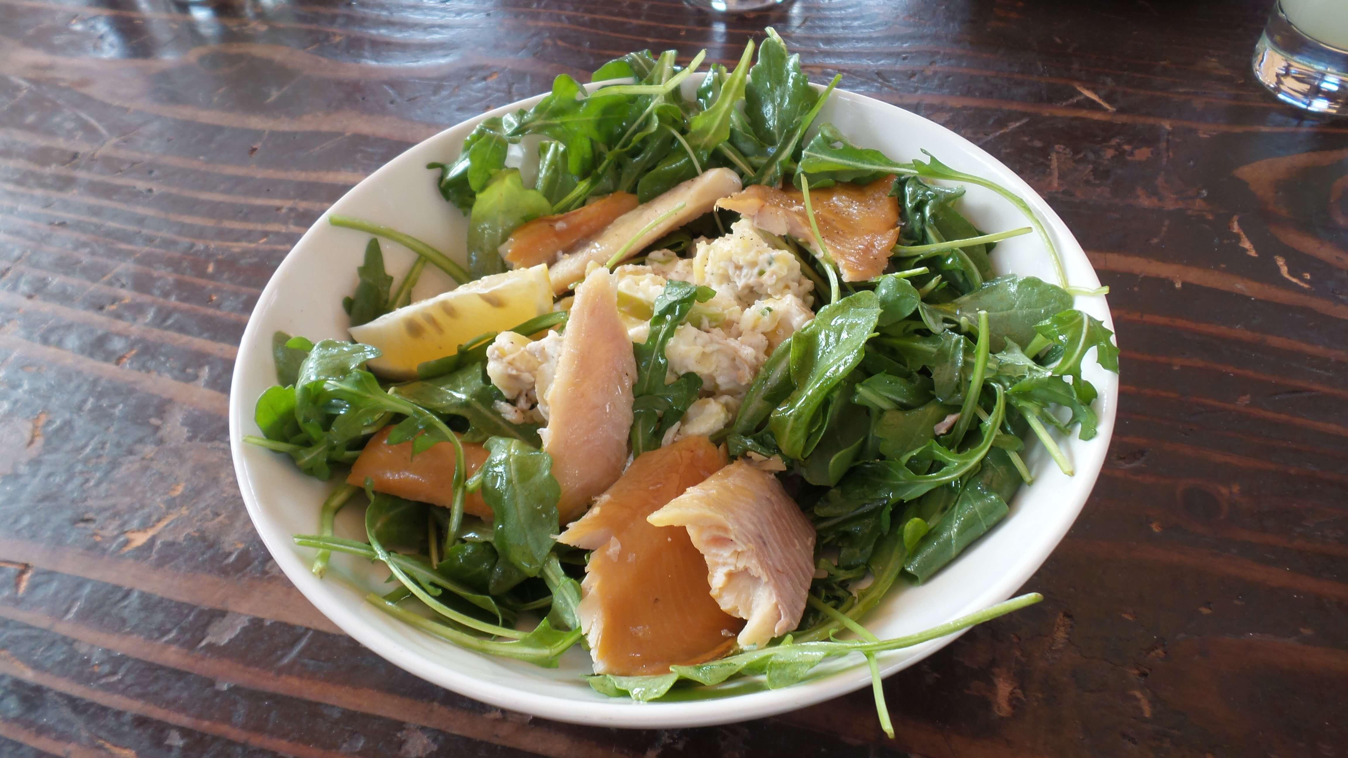 Smoked Trout, apple-potato salad, arugula