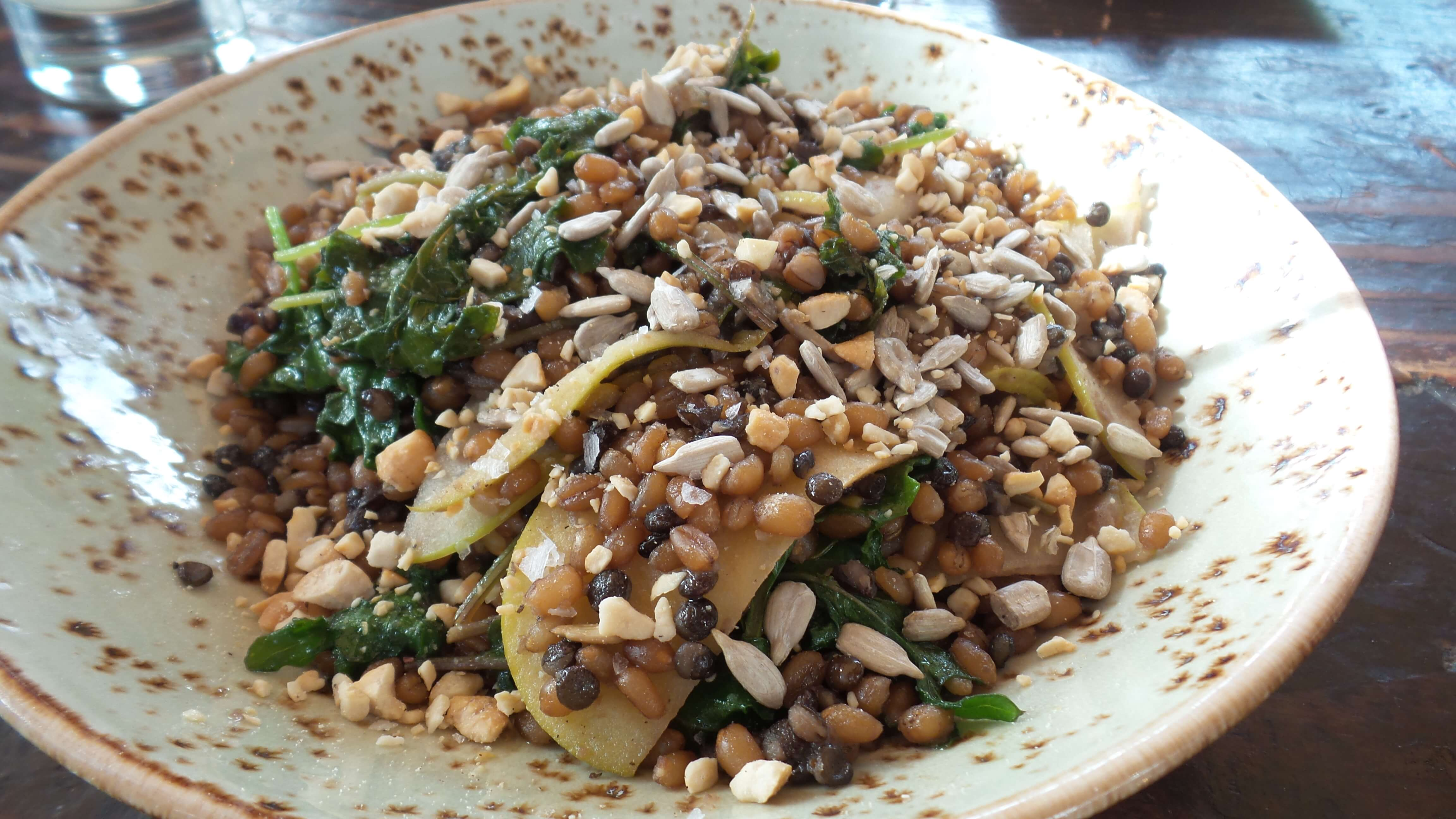 Warm Wheatberries & Lentils, apples, toasted sunflower seeds & cashews