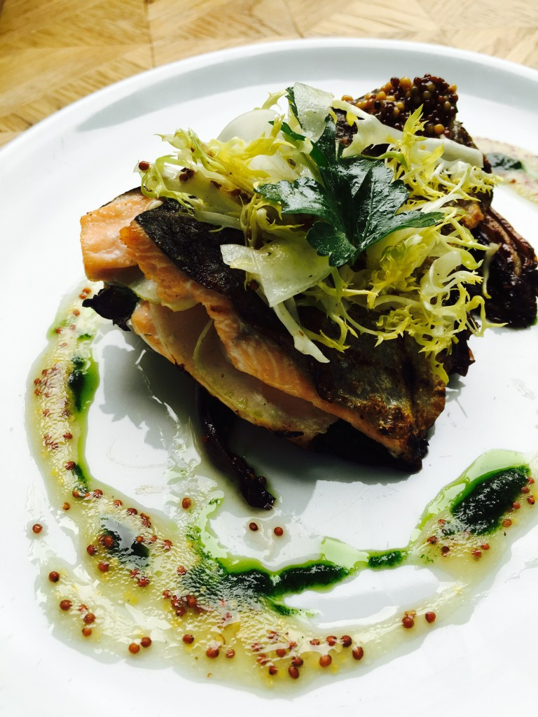 Grilled Rainbow Trout - Caramelized Endive, Grain Mustard Vinaigrette