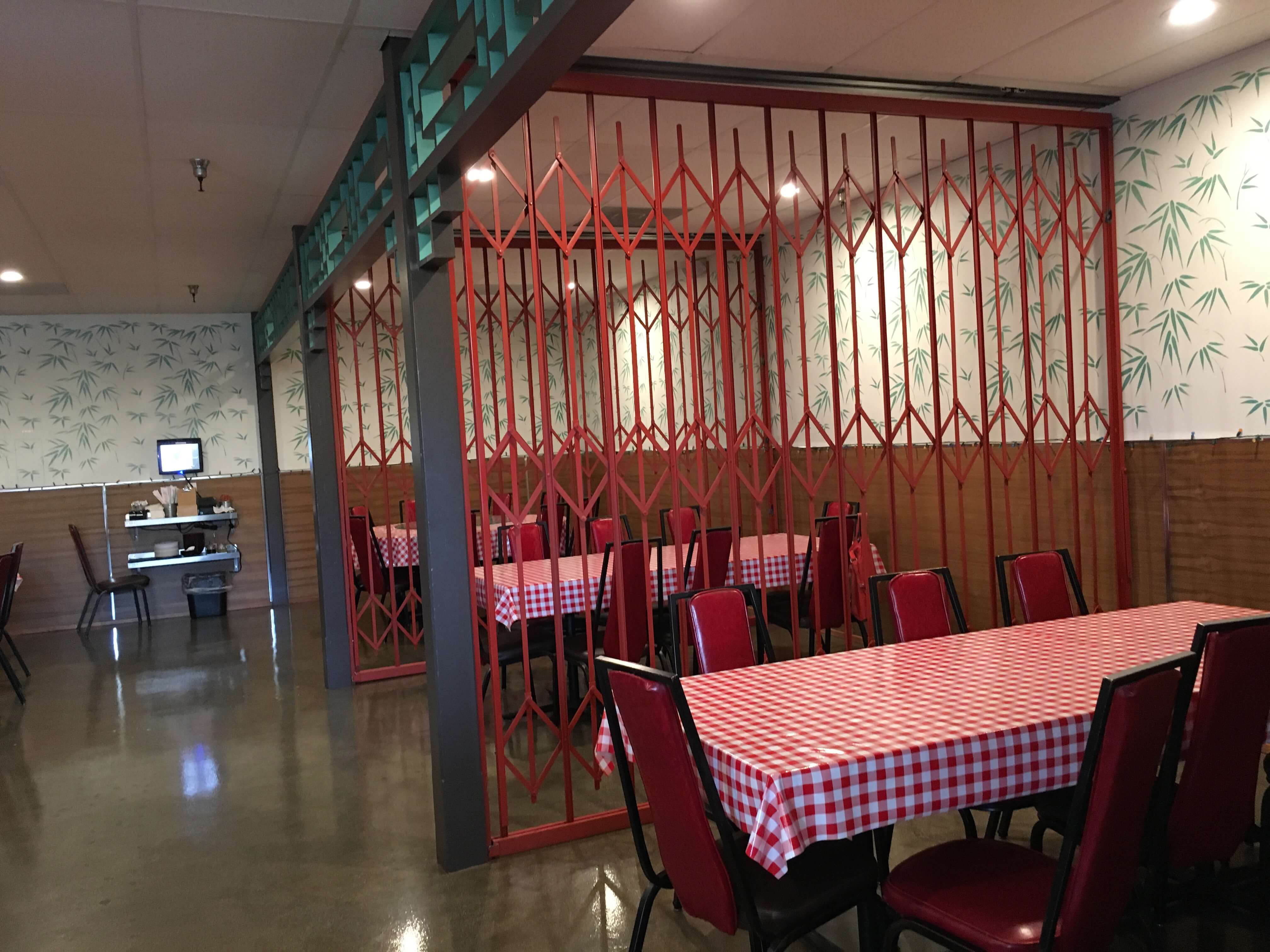 """On one side of the upper dining room are three """"alcoves"""" with tables.  Open yet separated at the same time."""