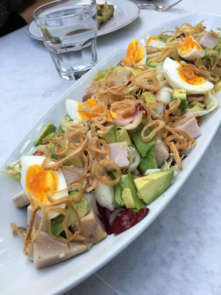 Smoked Chicken Salad. Belgian endive, Avocado, Radishes, Crunchy shallots, mustard vinaigrette, boiled egg.