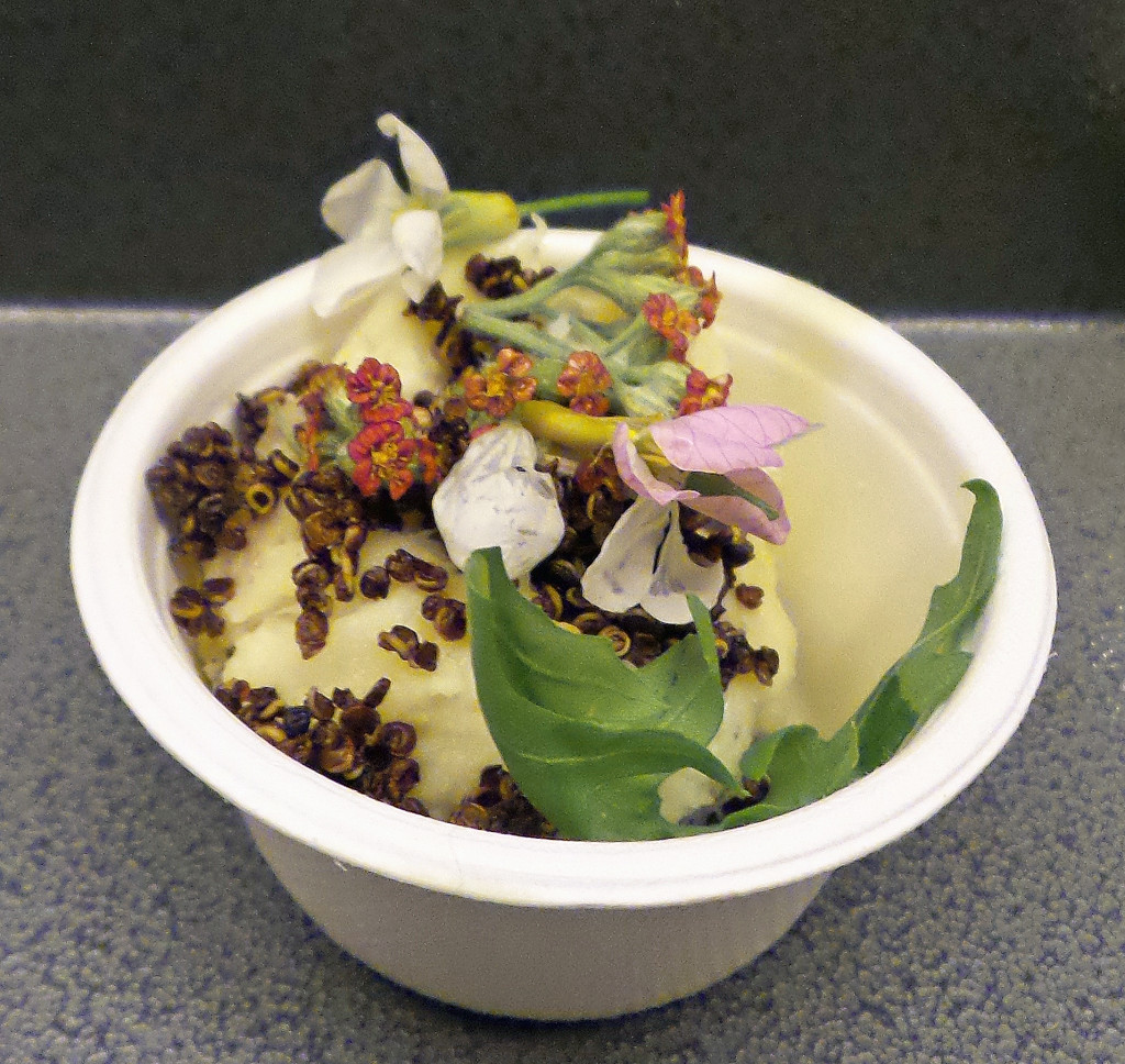 """Flowerpots"" from Sqirl (LA)--baccala, dehydrated quinoa, flowers"