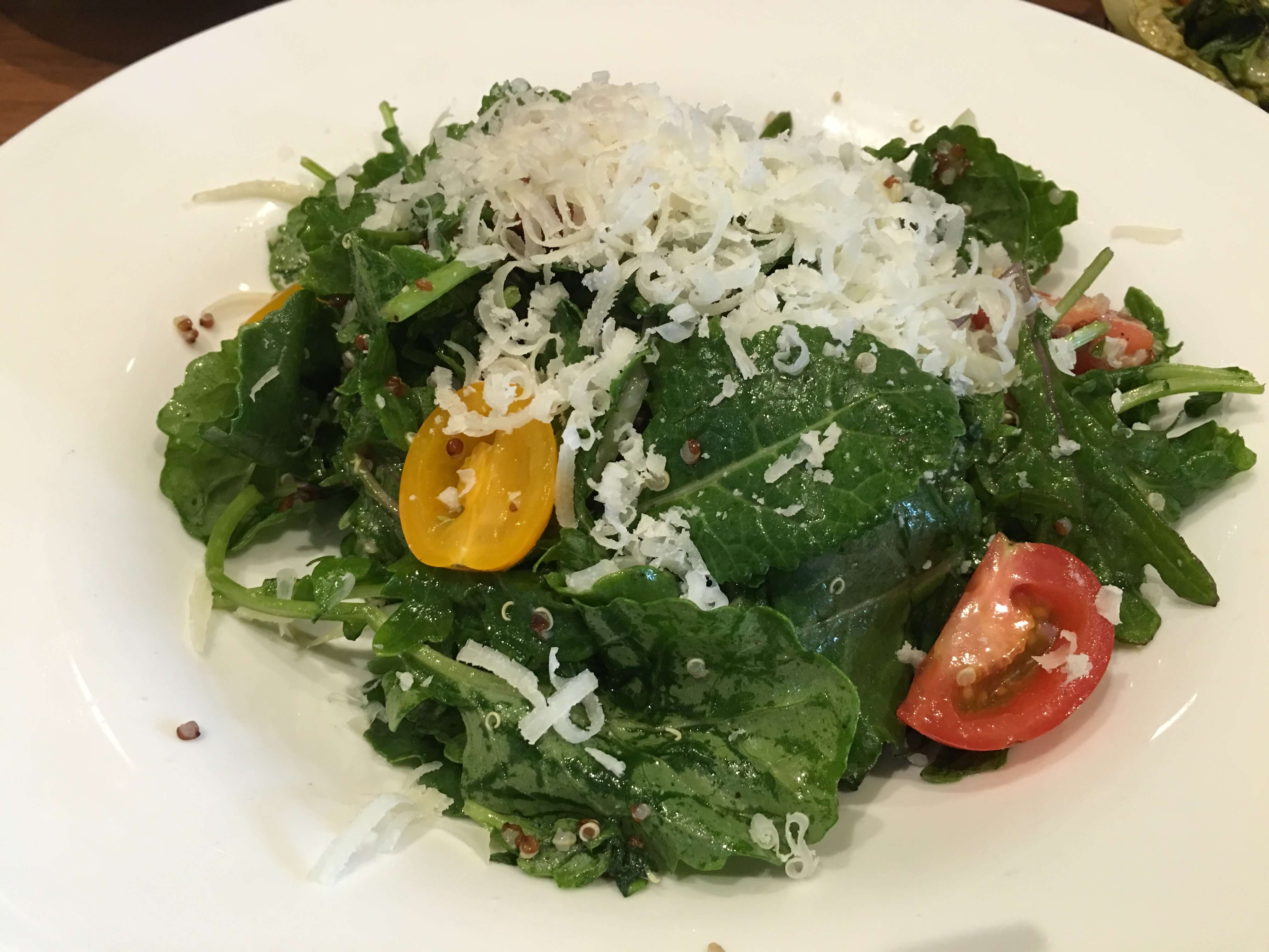 Fresh Baby Kale. Red and white quinoa, fennel, heirloom cherry tomatoes, manchego.