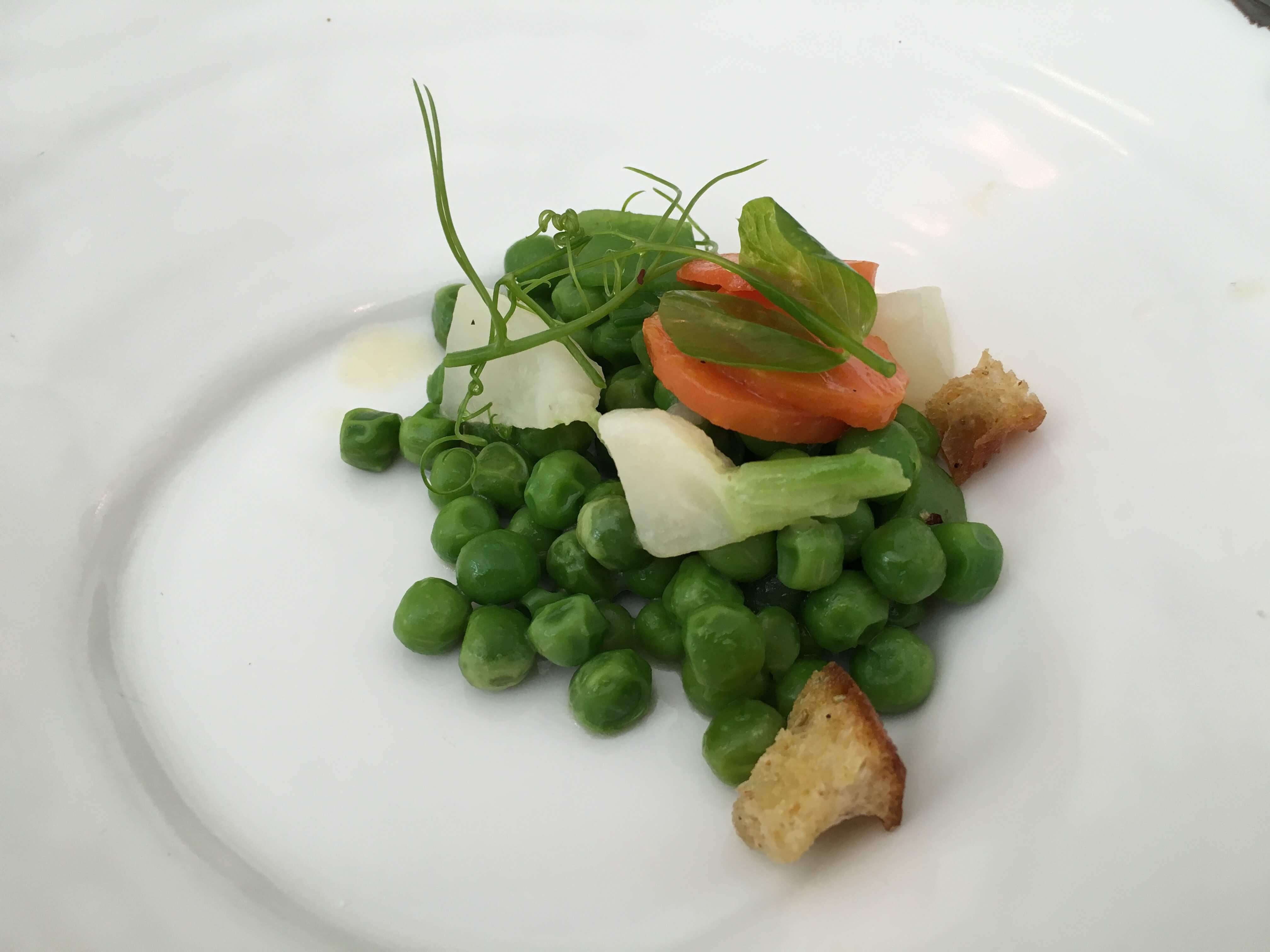 Soupe de Petits pois (before soup). English pea, carrot, mint, crostini.