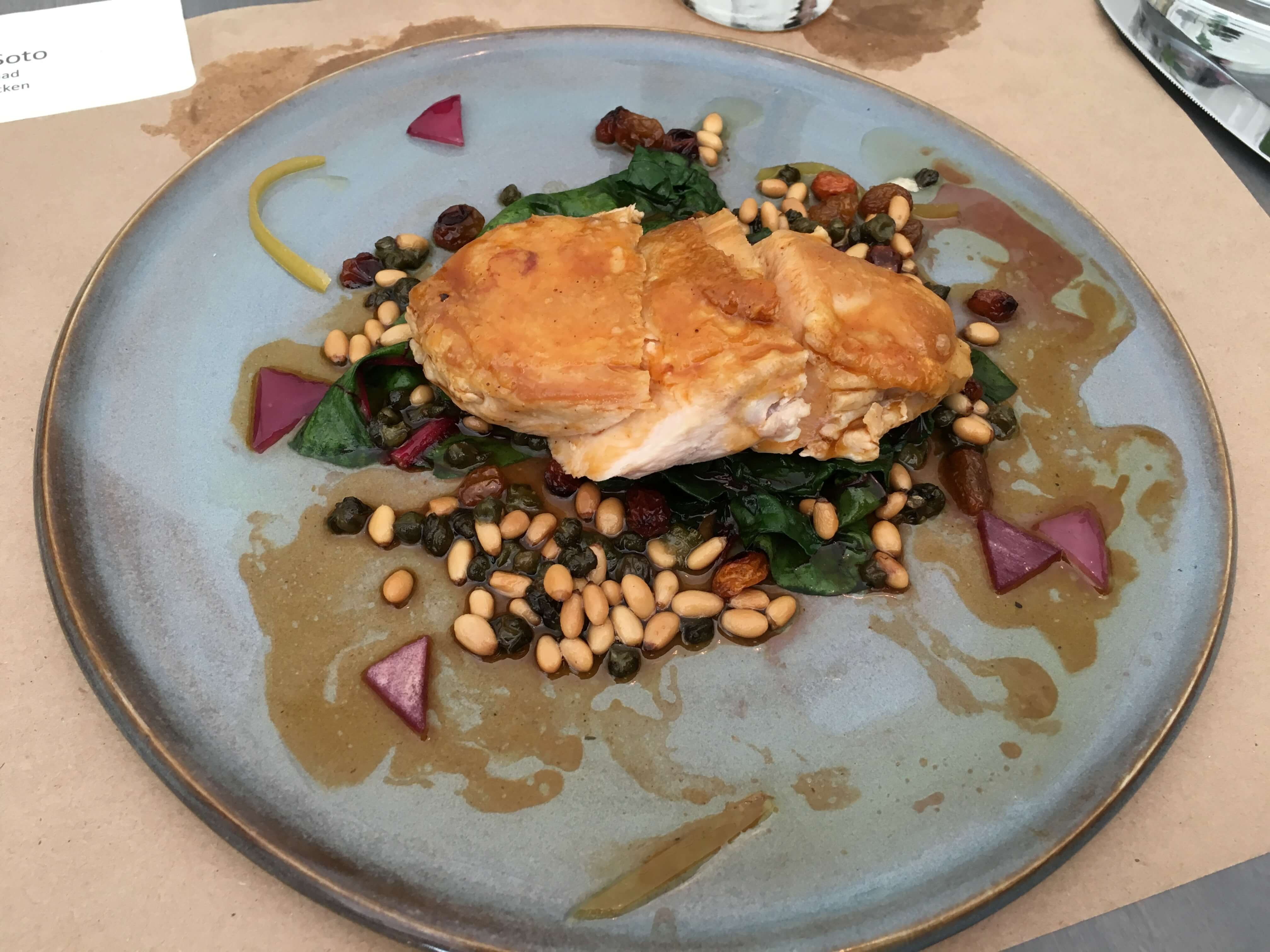 Volaille Rotie. Mary's chicken breast, swiss chard, potato, capers, raisin, lemon confit, pine nuts.