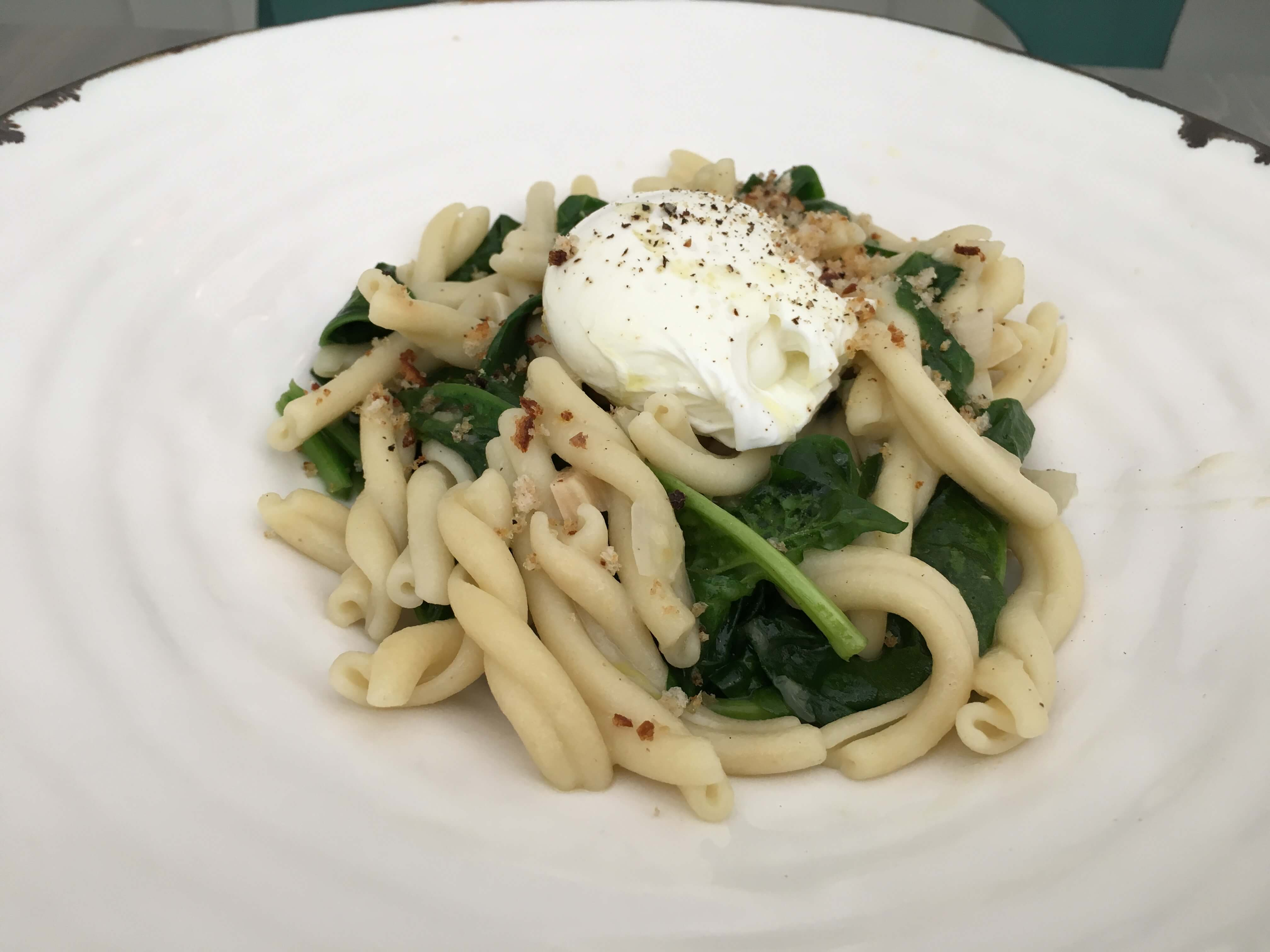 Pate Artisanal. Strozzepetti pasta, soft poached organic duck egg, spinach, shallot, lemon.