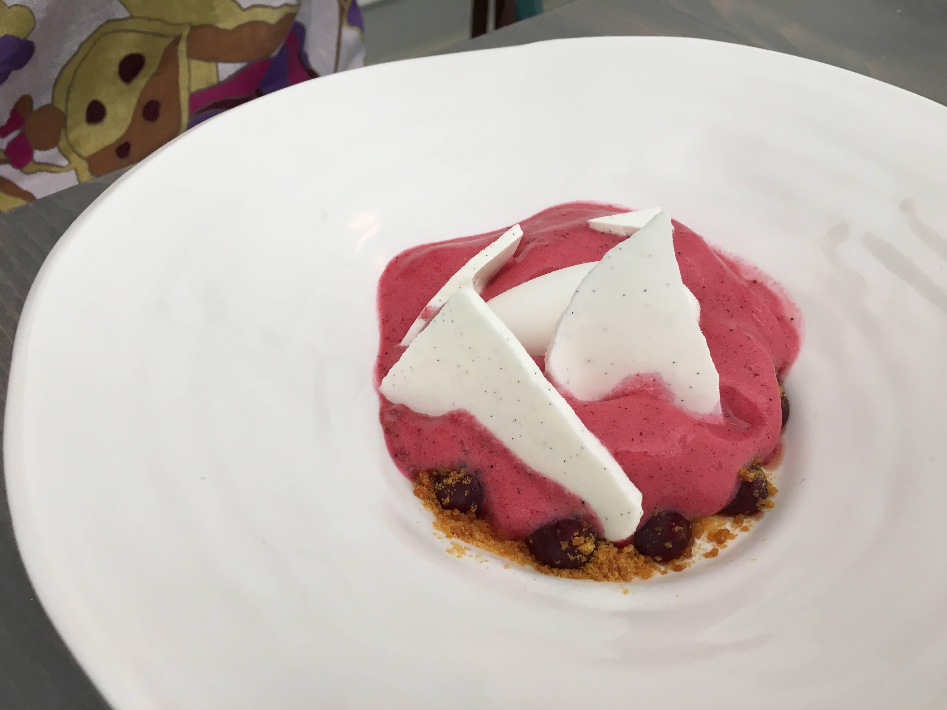 Cassis et Meringue. Black currant foam, buttermilk sorbet, brittle, micro basil.
