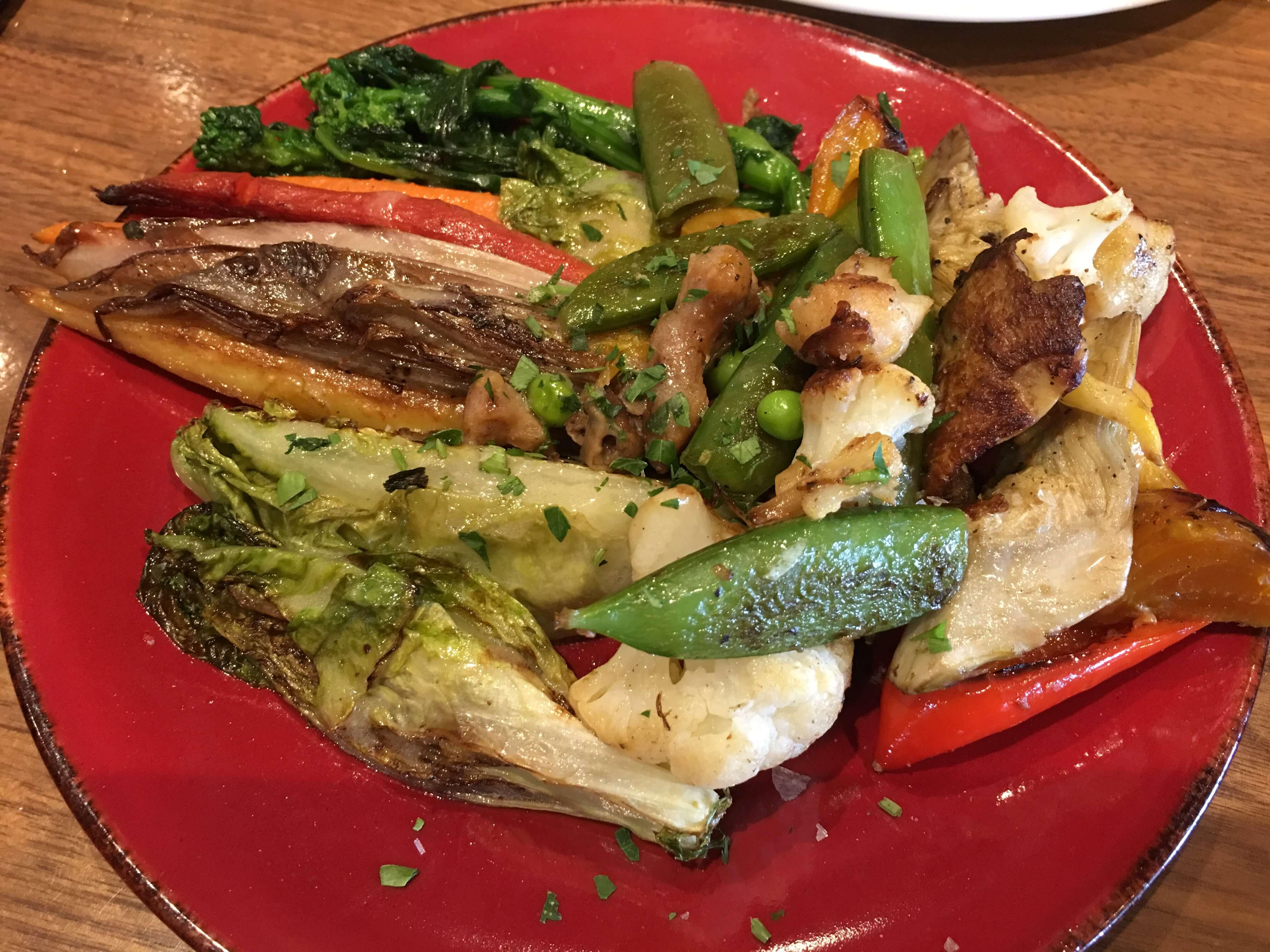 Roasted Seasonal Vegetables. Seared gem lettuce, roasted mixed vegetables.